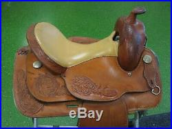 Tex-Tan Hereford 15 Western Saddle, Tex-Flex, Roping, Tooled Leather, Smooth Seat