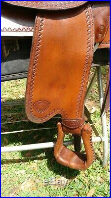 Tex Tan Tex Flex Gaited A-Fork Bear Trap Western Equestrian Saddle 17.5