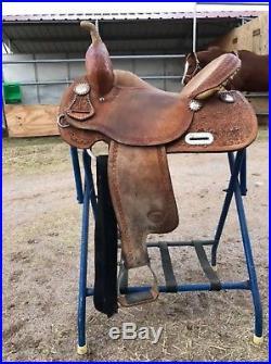Tex Tan Used 15 NBHA Barrel Saddle #08-NB88 with Purple Ostrich Regular Bar