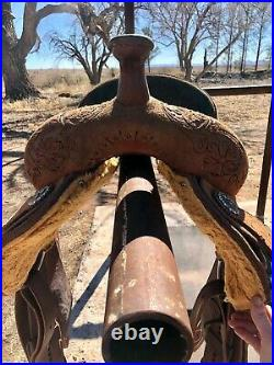 Tooled Leather Roughout Circle Y Barrel Saddle 14