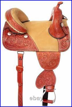 Treeless Horse Saddle 16 17 Comfy Western Tooled Leather Pleasure Trail Tack