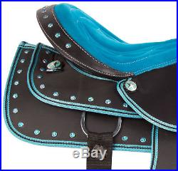 Used 15 16 17 18 Turquoise Western Silver Pleasure Trail Show Horse Saddle