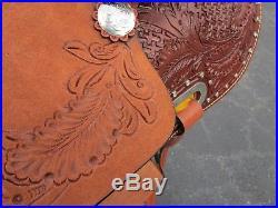 Used 15 16 Barrel Racing Show Pleasure Trail Tooled Leather Western Horse Saddle