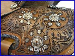 Used 15 16 Barrel Racing Trail Pleasure Tooled Leather Western Saddle Tack Set