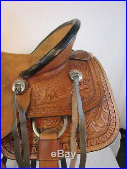 Used 15 16 Tooled Leather Trail Pleasure Horse Western Ranch Roping Saddle Tack