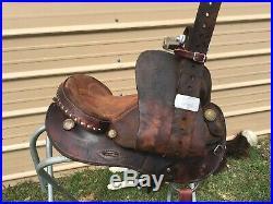 Used 15.5 Blue Ridge Western barrel saddle withrawhide wrapped horn US made