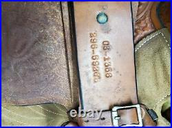 Used 15.5 Herford Tex Tan Brown Leather Roping saddle with Tooling All over It