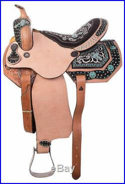 Used 15 Turquoise Cross Western Barrel Racing Horse Saddle Rough Out Leather
