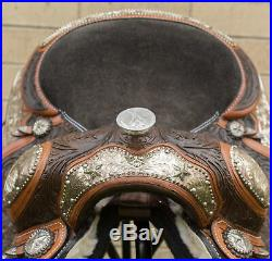 Used 16 Antique Oil Hand Carved Silver Show Western Leather Horse Saddle