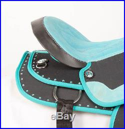 Used 16 Turquoise Black Synthetic Light Western Pleasure Trail Horse Saddle