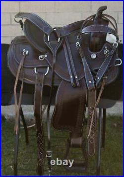 Used Gaited Tree Western Trail riding Comfy Leather Horse Saddle Tack 16 17