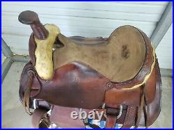 Used Older 16 Brown Leather Original Dixie Roping saddle with Rawhide