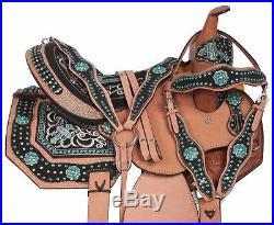 Used Turquoise Western Leather Barrel Trail Show Horse Saddle Tack Set 14 16