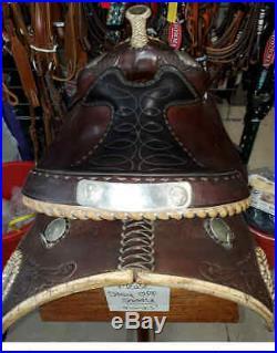 Used Vintage Circle Y western equitation saddle, dark brown 15/16 seat
