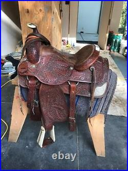 Used Western Hand carved Cherry Leather Roper Saddle 16in, with Bridle