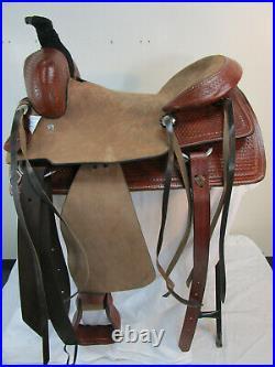 Used Western Saddle 17 16 Pleasure Horse Roping Ranch Basket Cowboy Rodeo Tack