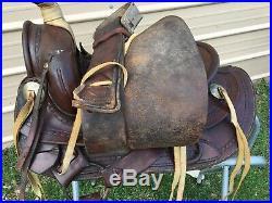 Used/vintage 14.5 Bona Allen slick seat Western saddle US made