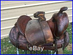 Used/vintage 14 JC Higgins tooled leather/ slick seat Western saddle US made