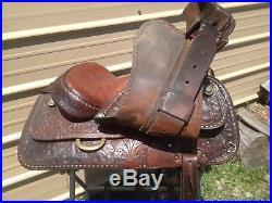Used/vintage Circle Y 15 Western saddle withtooled & buckstitched leather