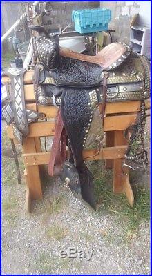 Vintage Black LEATHER Horse Western Parade Saddle 15 inch American Saddlery