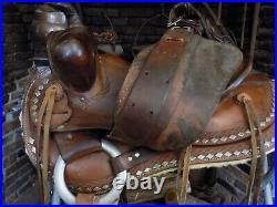 Vintage Brown Parade Saddle Ted Flower Bridle Breastcollar