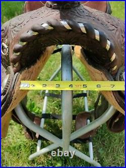 Vintage Circle Y Show Saddle 15 Seat Semi QH Bars