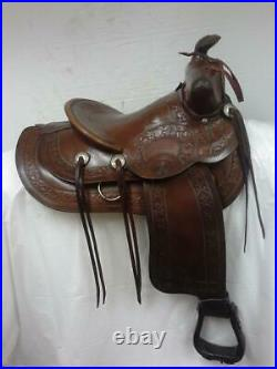 Vintage Collector Hess and Hopkins 14 Western Saddle Used Regular Quarter Bar