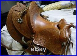 Vintage Custom Made HAnd Carved Leather Western Cowboy Saddle