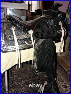 Vintage SIMCO Parade of Diamonds16 black leather Western parade saddle tapadero