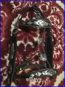 Vintage Ted Flowers Black Western Parade Saddle withBridle and Martingale