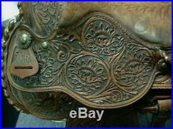 Vintage Tex Tan Imperial Fancy Tooled Leather & Silver Western Show Saddle