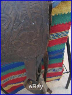 Vintage, Western, Leather Tooled, Cowboy Horse Saddle