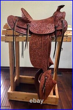 Visalia Style Saddle Full Mixed Floral Carved, Tapaderos New