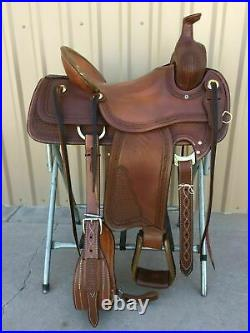 WILDRACE Western Brown Leather Hand carved Roper Ranch Saddle 14 To 18