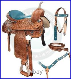 Western Barrel Racing Premium Leather Trail Horse Saddle Tack Size 14 to 18 Inch