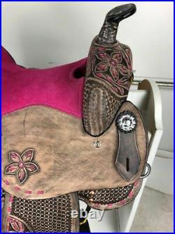 Western Barrel Racing Youth Child Pony Premium Leather Horse Saddle Size 10 to13