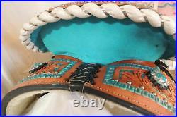 Western Barrel Racing Youth Child Pony Premium Leather Horse Saddle Size 12 to13