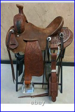 Western Brown Leather Hand Carved Roper Ranch Saddle /Leather Strings 295 18