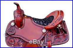 Western Brown Leather Hand Carved &Tooled Barrel Racer Saddle 16 1023