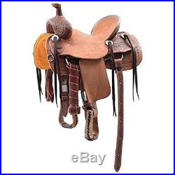 Western Brown & Natural Leather Roper Ranch Saddle With Strings 14