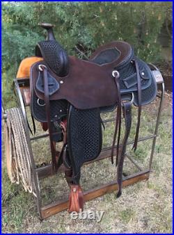 Western Dark Brown Leather Hand Carve Roper Ranch Saddle 15,161718