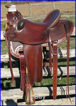 Western Dark Mahagony Leather Hand Carve Roper Ranch Saddle 15,161718