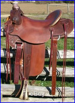 Western Havana Leather Hand Carve Roper Ranch Saddle with Leather Strings