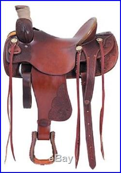Western Havana Leather Hand Carved Roping Ranch Saddle with Strings 17