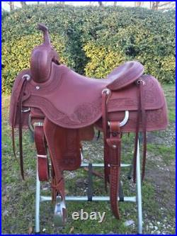Western Havana Leather Roper Ranch with Leather Strings 15,16, 17