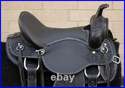Western Horse Saddle Leather Gaited Black Pleasure Trail Tack Set Used 16 in