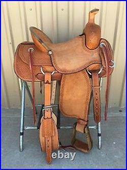 Western Light Brown Leather Hand carved Roper Ranch Saddle 15,16,17,18