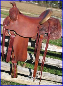 Western Mahagony Leather Roper Ranch Hand Tooled and Carved 16 Saddle