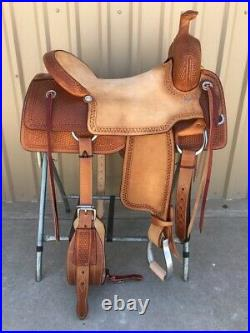 Western Natural & Brown Leather Strip Down Roper Ranch Cutter Saddle 15,1617