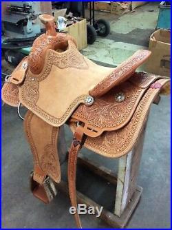 Western Natural Leather Hand Carve Roper Ranch Saddle 15,161718